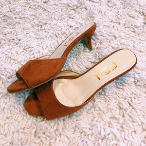 FSJ Shoes Shoes - FSJ Shoes Brown Satin Heel With Front Strap